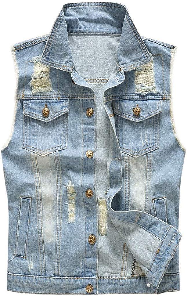MODOQO Men's Denim Jacket Vest Casual Sleeveless Lightweight Light Blue Cowboy Jeans Outwear
