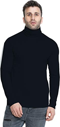 Men s Winter Wear Cotton Turtle Neck Full Sleeves T Shirt