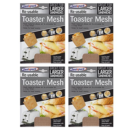 4 x Sealapack Re Usable Toaster Mesh Cooking Pocket Pouch Sandwich Toaster Bag