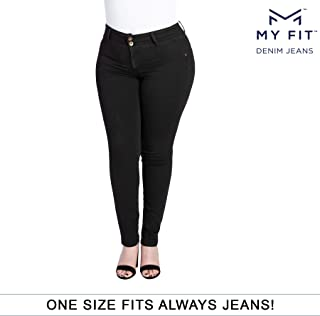 My Fit Jeans- SIZE 14-20 BLACK: Women's Stretch Denim Jeans with Pockets and the Comfort of Leggings, Petite through Plus Size