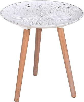 CRIBEL Modelo Sharm Coffee Table íntegramente de Madera con Tablero Acabado Blanco Vintage con Grabado, Altura 42 cm