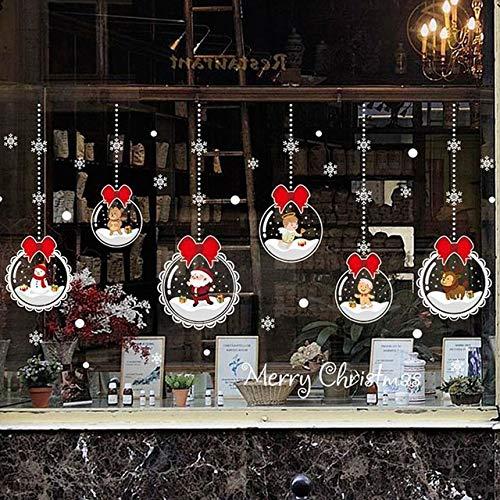 YINGYINGSM Colgar Bolas de Navidad Decoración de Vinilo Adhesivos for la Ventana de la Puerta Desmontables autoadhesivasFabricamos Pegatinas de Pared Pegatinas de Pared (Color : Pink, Size : As pic)