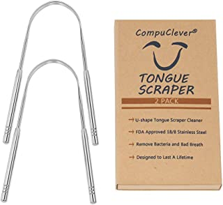 Tongue Scraper 2 Pack Tongue Scraper Stainless Steel, FDA Approved Tongue Cleaner, Get Rid of Bacteria and Bad Breath, CompuClever