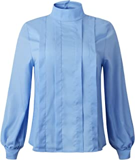 SZIVYSHI Long Sleeve Bishop Sleeve High Mock Neck Button Back Pleated Blouse Shirt Top