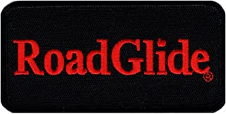 Road Glide Embroidered Iron on sew on MC Biker Patch (4.0 inch-Red/Blk))