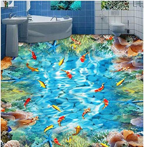 3D-wandbehang voor vloeren van PVC-lijm voor goudvis, barrière Corallina, moderne wand, personaliseerbaar voor vloeren in 3D 200cm(L)x140cm(W)