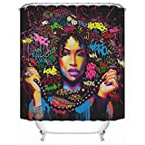 Sea&Cloud Graffiti Art Design Fabric Hip hop Shower Curtain,African American Girl with Unique Rings is Showing her Necklace to us,Big Hair,Colorful Words,72Wx72H,Colorful