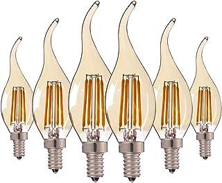 Hcnew 6 Pack E14 Flame Tip LED Bombilla de vela de filamento, C35 4W - 40W Bombillas incandescentes Equivalente Super cálido blanco 2200K Edison pequeño Bombilla de vela ámbar, no regulable