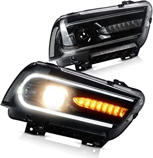 YUANZHENG Dual Beam Projector LED Headlights for Dodge Charger 2011 2012 2013 2014 with Sequential Turn Signals DRL Bars YAA-CHR-0288-H