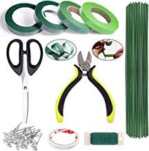 Floral Arrangement Kit 10 PCS Floral Tools Handmade Bouquet Stem Wrap Florist Pin Flower Wire Cutter Green Floral Tapes 26 Gauge Stem Wire 22 Gauge Paddle Wire Floral Shear Crystal Flower Pins for DIY