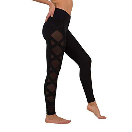 9668b23b01a0d6 90 Degree By Reflex Women's High Fashion Criss Cross Workout Leggings Sheer  Mesh Panels