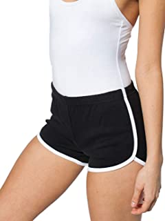 ALLUSIVE Women's Striped Athletic Shorts, Inspiration 80s Style Running Shorts