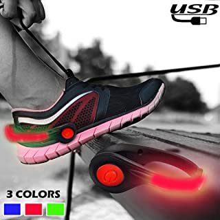 RICOVO Shoe Lights LED Safety Lights for Running at Night - High Visible USB Rechargeable Light Weight Reflective Gear Sports Accessories for Night Running Walking Hiking Biking Jogging (one Pair)