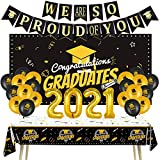 🎈🎓[2021 Graduation Party Supplies]- Our graduation themed party decor set included 1 x congratulations grad backdrop, 1 x We are so proud of you banner, 1 x Graduation Tablecover, 1 x 2021 aluminum film Balloons, 20 x Graduation Balloons .One set inc...
