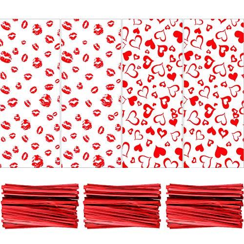 120 Piezas Bolsas de Regalos de San Valentín Bolsas de Celofán Bolsas de Dulces con 150 Lazos de Torcedura para Favores de Fiesta de San Valentín (Labios y Carazón Diseño)