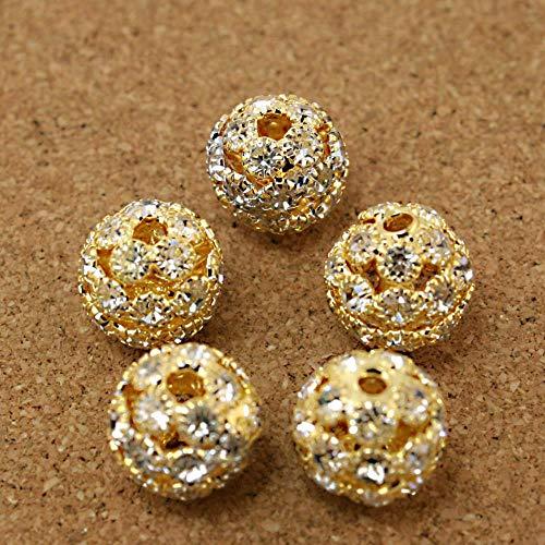 PENVEAT Branelli del distanziatore Della sfera del Rhinestone dell'oro di Forma rotonda di 5pcs / Lot 13mm per i monili di Modo CN-BJA049-19