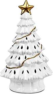 Goplus Pre-Lit Hand-Painted Ceramic Christmas Tree, Tabletop Xmas Decor with LED Lights and Top Star, Forever Lighted Holiday Centerpiece (White, 11 inches)