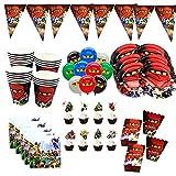 PPuujia Compleanno decorazione festa 82 pz/lotto Ninja decorazione partito Stoviglie carta tazze piatti cappelli baby shower Banner bambini festa di compleanno forniture