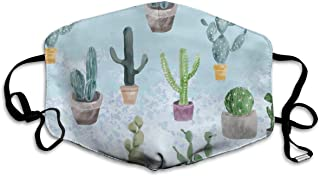 Osvbs Pattern of Cactus and Succulents On Light Blue Personalized Washable Reusable Safety Breathable Mask, 4.3