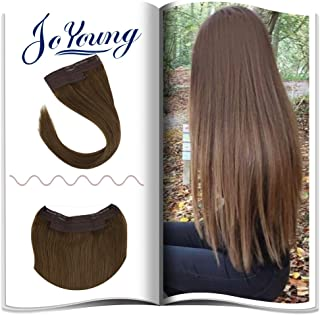 Joyoung Hidden Crown Invisible Fishing Line Human Hair Extensions 20Inch 100 Gram #6 Light Brown Halo Human Hair 100% Remi Hair Extensions For Women