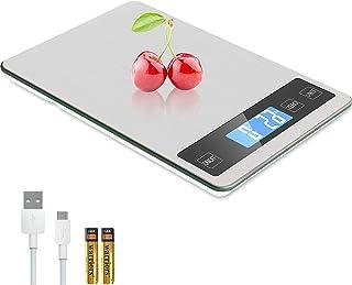 Zibet Rechargeable 33lb/15kg Digital Food Scale Kitchen Scale,1g/0.1oz Precise Graduation,5 Units,Tare Function,Backlit LC...