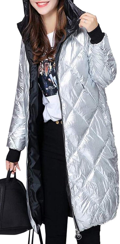 XQS Women's Classic Down Coat Jacket Metallic Light Heat Long Jacket Puffer Down Coat