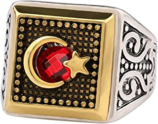 Smalllove Islamic Ring for Men,Crescent Moon & Star,Antique Silver Gold Color Matching,Arabic Muslim Muhammed Rings