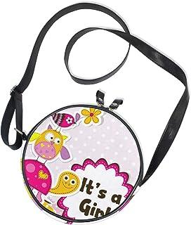 Ahomy Runde Tasche klein für Frauen – niedliche Eule Cartoon Vogel Schildkröte Damen Mode Crossbody Tasche Umhängetasche