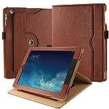 EasyAcc Hülle für iPad 2 3 4, 360 Grad Drehung PU Leder Langlebig ohne Plastik&, Tasche Stifthalter, Auto Wake/Sleep, Kompatibel für iPad 2 3 4, Braun