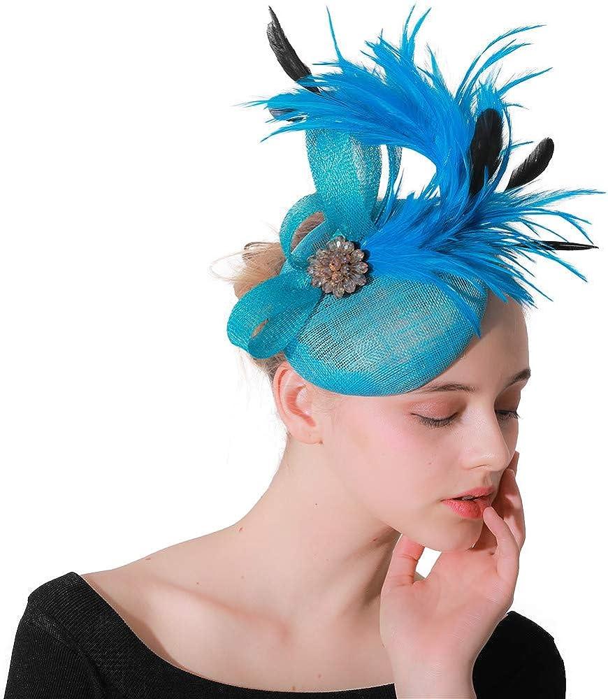 Turquoise Sinamay Women Elegant Fascinators Fancy Feathers Hats for Ladies XMF84