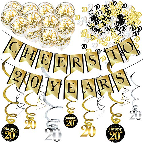 20th Birthday and Anniversary Decorations Party Pack - Cheers to 20 Years Banner, Balloons, Swirls and Confetti Party Supplies