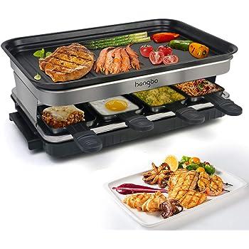 Termostato Regulable Antiadherente HengBO Raclette Grill con Piedra Natural y Placa Raclette 8 Personas 2-IN-1 Grill 1300W Incluye 8 Mini-Sartenes y 4 Esp/átulas Negro