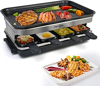 comprar comparacion Raclette Grill con 8 Mini Sartenes Revestimiento Antiadherente Regulador de Temperatura para 8 Personas 1500W Negro