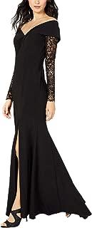 Womens Petites Lace Off-The-Shoulder Evening Dress