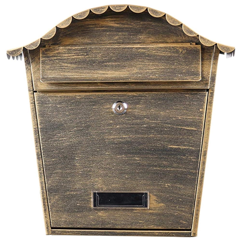 DS-ドンシェンショップ 郵便箱 - 亜鉛メッキシート、鍛鉄ヨーロッパの屋外壁には、ヴィラ、中庭、家庭に適した屋外のクリエイティブな防水ヴィラの郵便箱が吊るされています。 && (色 : Antique gold)