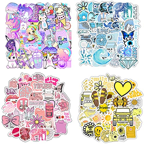 200 Stickers (50-600Pcs Pack) Water Bottle Laptop Decals, VSCO Aesthetic Hydroflask Stickers for Girls Adults, Cool Girly Sticker, Blue Pink Yellow Purple Stickers for Helmet Laptops Bike Luggage