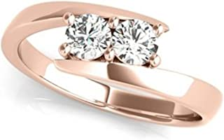 JewelMore Two-Stone Forever Us Ring 1/2 ct tw Diamonds 14K White, Yellow or Rose Gold (H-I / I1-I2)