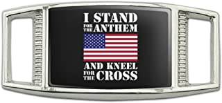 I Stand For The Flag Kneel Cross USA American Flag Patriotic Rectangular Shoe Shoelace Shoe Lace Tag Runner Gym Charm Decoration