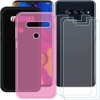 YZKJ [2 stycken skal för LG V40 ThinQ Cover svart + rosa mjuk silikon skyddande skal TPU skal skal skal + 3 x pansarglas s...