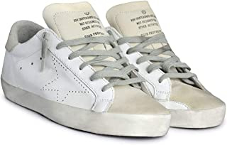 White and Grey Perforated Superstar Women Sneakers GCOWS590.A5-36 Color: White