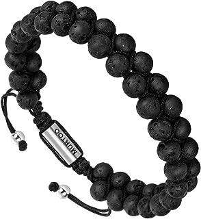 murtoo Essential Oil Bracelet Adjustable, Mens Beads Bracelet Lava Rock Stone Bracelet Perfume Diffuser Bracelet, 7-9 Inches
