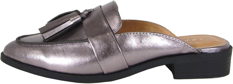 City Classified Women's Slip-On Tassel Block Heel Backless Mule