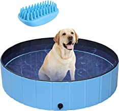 POTBY Foldable Pet Swimming Pool, Portable Collapsible Dog Bathing Tub, Round PVC Leakproof Water Pool with Brush, Indoor ...