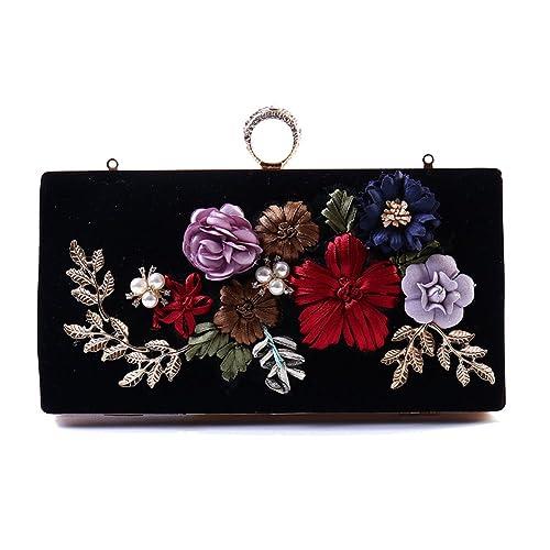 9e95134ee Flada chica noche garras de seda bordados de flores rectangular 3D bolsos  bolsas de hombro negro