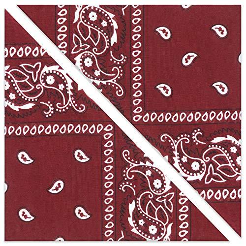 KEVOLLA BANDANA Haarband Rockabilly Bandana weinrot Kleidung Damen Tuch dunkelrot 2 Stück Bordeaux