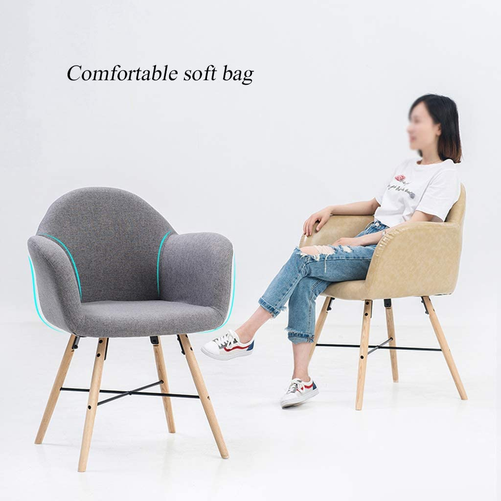 Chaise Longue en Forme de pétale Dossier Solide Chaise à Manger en Bois, Deux Tissus, Pieds en Bois Massif, 200 kg de Charge maximale, la Taille 20 « x21 » x34 /51X52X86.5CM C