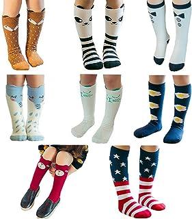 Aipark, 8 pares de calcetines altos (rodilla) de algodón para bebé niña, diseño de animales, se pueden lavar en lavadora
