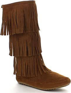 Womens Cherokee-03 Fringe Mocassin Faux Suede Boots