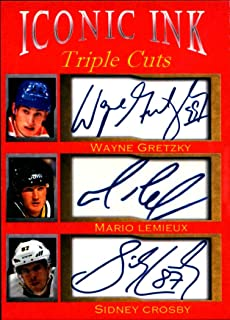 Wayne Gretzky Mario Lemieux Sidney Crosby Iconic Ink Triple Cuts facsimile auto 1/1000 Edmonton Oilers