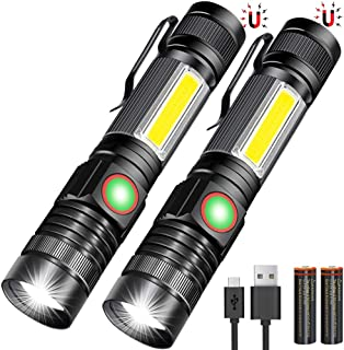 USB Rechargeable Flashlight, Magnetic Flashlights With COB Flash Light Include Battery - 4 Models, Zoomable, Water Resista...